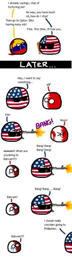 """Why America? Why?"" ( US, Venezuela, Qatar, Bahrain ) by Scub #polandball #countryball #flagball"