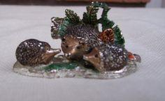 Vintage Miniature Figurine Pewter Hedgehog