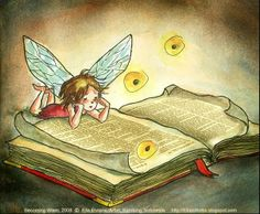 book fairy illustration by Ella Elviana I Love Books, Books To Read, My Books, Fairy Dust, Fairy Tales, Fantasy Magic, World Of Books, Magical Creatures, Book Illustration
