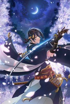 Touken Ranbu anime info and recommendations. The year is 1863 as the tumultuous samurai era is . Anime Boys, Hot Anime Boy, Manga Boy, Manga Anime, Anime Cosplay, Samurai, Saiunkoku Monogatari, Touken Ranbu Mikazuki, Character Art