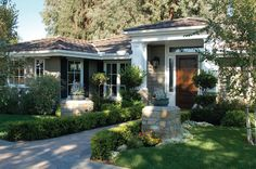 California Ranch Replacement Windows - traditional - Exterior - Los Angeles - Lincoln Wood Products, Inc. House colors and wood front door.