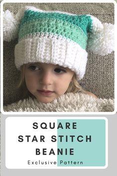 00498b5a8a3 Star Stitch Pom Pom Beanie. Crochet GiftsCrochet Kids HatsCute  CrochetCrochet ScarvesBaby ...