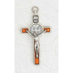 "INRI Crucifix with St. Benedict Medal Silver Plated Enamel Orange 3"" by FindingKing. $36.50. St. Benedict is the patron saint of farmers, civil engineers, students and all members of religious communities. On the arms of the cross are the initial letters of a rhythmic Latin prayer: Crux sacra sit mihi lux! Nunquam draco sit mihi dux! (May the holy cross be my light! May the dragon never be my guide!). Above the cross is the word pax (peace), that has been a Benedictine motto ..."