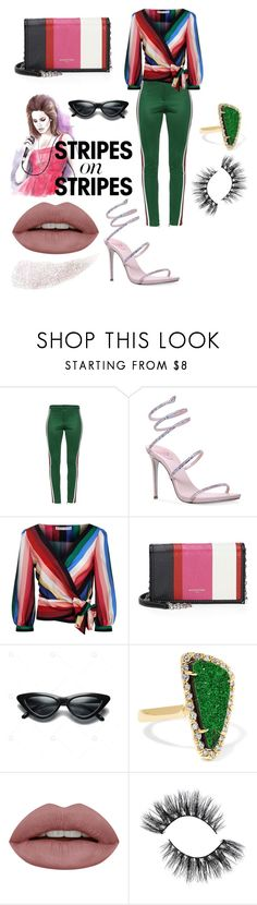 """""""Too Far Gone"""" by royalsavage ❤ liked on Polyvore featuring Gucci, René Caovilla, Alice + Olivia, Balenciaga, Kimberly McDonald, stripesonstripes and PatternChallenge"""