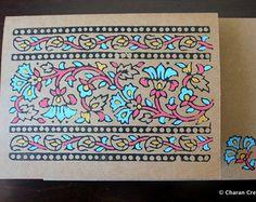 Bloque impreso Kraft vid tarjeta India frontera por charancreations