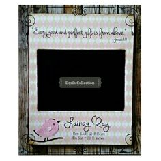 Green and pink baby frame personalized
