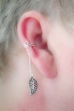 Ear Cuff/ Leaf Filigree Dangle Antique by TheLazyLeopard on Etsy, $9.00