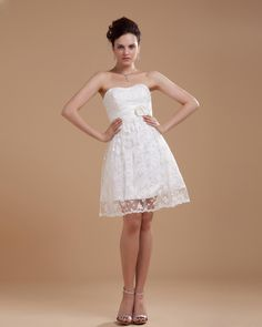 Satin Strapless Beading Short Wedding Dress  Read More:     http://www.weddingsred.com/index.php?r=satin-strapless-beading-short-wedding-dress.html