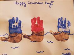 In celebration of Columbus Day, check out this craft of Columbus' three ships created by using the handprints of children! Toddler Art, Toddler Crafts, Crafts For Kids, Boat Crafts, Fall Crafts, Halloween Crafts, Holiday Crafts, Daycare Crafts, Classroom Crafts