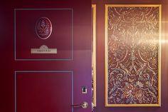 Handmade medallions with Stroganov Hotel logo on each door of the rooms # designhotel Hotel Branding, Hotel Logo, Hotel Spa, Event Venues, Portugal, Rooms, Boutique, Decoration, Handmade