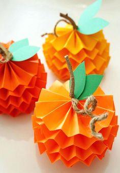deco automne en papier a faire soi meme mini citrouilles papier 3D