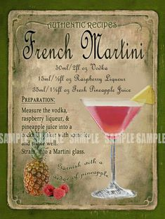 Trio of cocktail aperitifs - Clean Eating Snacks French Martini Cocktail, Cocktail Drinks, Chambord Cocktails, French Cocktails, Sour Cocktail, Vodka Cocktails, Alcohol Drink Recipes, Martini Recipes, Martini Recipe Book