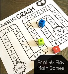 Tons of print and play math games for first grade! No prep, needed!Tons of print and play math games for first grade! No prep, needed! Play Math Games, Kindergarten Math Games, Math Games For Kids, Math Classroom, Math Activities, 1st Grade Math Games, Math Math, Math Addition Games, Student Games