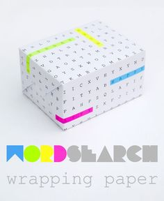 DIY word search gift wrap  / nuevas ideas para forrrar un regalo o presente #gifts #pupiletras