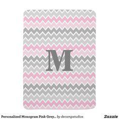 Personalized Monogram Pink Grey Gray Ombre Chevron Baby Blanket