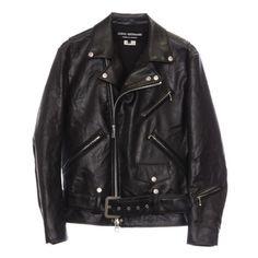 Junya Watanabe Biker Jacket ($1,024) ❤ liked on Polyvore featuring outerwear, jackets, tops, leather jacket, women, junya watanabe, moto jackets, motorcycle jacket, zip jacket and moto zip jacket