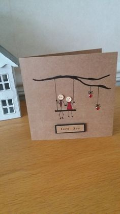 Hand drawn romantic card with stickman couple on swing and heart detail. A lovely card for that someone special in your life for anniversary, wedding or just to say love you. Wording can be changed just message me to discuss your requirements. Each card is 6x 6 inches and comes