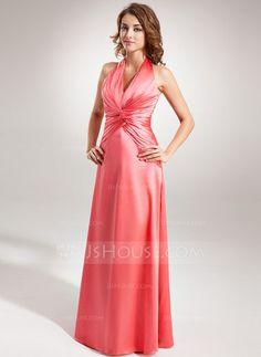 A-Line/Princess Halter Floor-Length Charmeuse Bridesmaid Dress With Ruffle (007001848) - JJsHouse