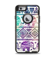The Tie-Dyed Aztec Elephant Pattern Apple iPhone 6 Otterbox Defender Case Skin Set