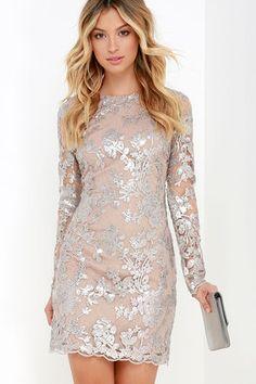 Dress the Population Grace Silver Sequin Dress