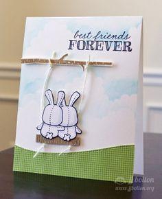 Ribbon Girls {Handmade Cards} by JJ Bolton: Mama Elephant Stamp Highlight: Honey Bunny ***I love the tree swing creation!