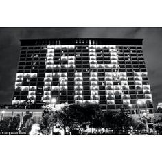 During the Finals the city of San Antonio supported our Spurs by lighting up the rooms of a hotel!
