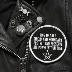 """New online! Welcome to the family @prettyinpunk . We are in love with the Ring of Salt patch! A great addition to any jacket or denim vest for added protection . - - - Or as said by Pretty in Punk: """"A perfect patch for those who want to perform spells on the move need simple words to help ward off negativity or want something to help visualise a protective circle when unable to physically cast one."""" #prettyinpunk #moonpin #pin #pins #enamelpin #statementpin #patch #patches #ringofsalt…"""