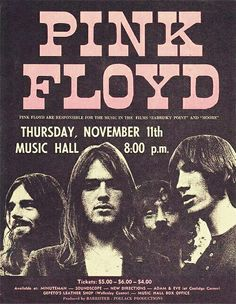 As part of the band's 1971 Meddle US tour, Pink Floyd performed in Boston at the Music Hall. Arte Pink Floyd, Rock Vintage, Vintage Style, Musica Punk, Pink Floyd Poster, Concert Rock, Rock Band Posters, Vintage Concert Posters, Pop Rock
