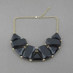 Bib necklace, Black necklace, statement necklace, bubble necklace, party necklace,  bridal necklace, bridesmaid necklace. $14.90, via Etsy.