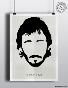 Pete Townshend (The Who) Minimalist Music Icons Poster by Posteritty #MinimalistHair #MinimalistMusicians #HairSilhouettes #PosterittyStyle #TheWho