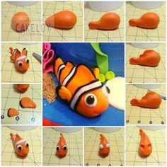 tutorial cartoni animati   Esperimentidizucchero's Blog Cake Topper Tutorial, Fondant Tutorial, Fondant Figures, Fondant Toppers, Fondant Cakes, Fondant Fish, Fondant Baby, Fimo Disney, Finding Nemo Cake