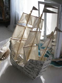 paper ship craft <br> ideas for paper ship craft Paper Mache Projects, Paper Mache Crafts, Diy Paper, Paper Art, Pirate Ship Craft, Boat Crafts, Ann Wood, Paperclay, Paper Ship