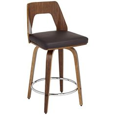 Warm walnut finish wood and chocolate faux leather are accented with a bit of polished chrome in this stylish Mid-Century Modern counter stool.