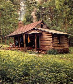 Log cabin in the woods. Too grungy and dark but i am pinning because i think it is interesting how the add on is attatched to the little cabin Old Cabins, Tiny Cabins, Log Cabin Homes, Cabins And Cottages, Tennessee Cabins, Cabin In The Woods, Little Cabin, Cozy Cabin, Old Houses