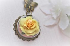 Flower Terrarium Necklace Flower Necklace Rose Necklace Rose