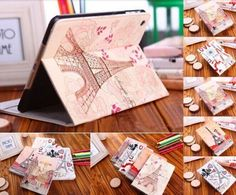 Cute Lovely Cartoon Retro Eiffel Paris Tower Girl Stand Flip Leather Case Smart Cover for iPad Air 2 For Girl's Gift Paris Tower, Cute Ipad Cases, Girl Standing, Ipad Air 2, Girl Gifts, Leather Case, Gift Wrapping, Cartoon, Retro