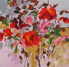 Giclee Print of Acrylic Abstract Floral Painting by LindaMonfort