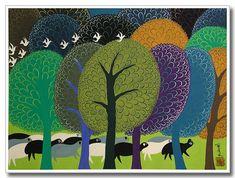 Chinese folk art, peasant painting, sheep and trees
