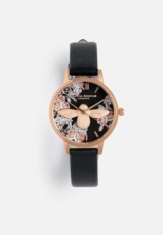 This eye-catching rose gold timepiece features an intricately moulded bee over a hand-painted dark floral dial and a genuine leather strap. Olivia Burton, Watches Online, Rose Gold, Hand Painted, Floral, Gifts, Stuff To Buy, Animals, Accessories
