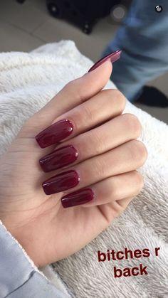 Dark Red acrylic nails - New Ideas Sexy Nails, Prom Nails, Love Nails, Nails On Fleek, Fun Nails, Gorgeous Nails, Pretty Nails, Red Acrylic Nails, Dark Nails