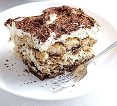 Tiramisu BBC Good Food Recipe   Ingredients     568ml pot double cream   250g tub mascarpone   75ml Marsala   5 tbsp golden caster sugar   300ml strong coffee , made with 2 tbsp coffee granules and 300ml boiling water   175g pack sponge fingers   25g chunk dark chocolate   2 tsp cocoa powder