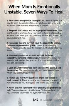 When Mom Is Emotionally Unstable. Seven Ways To Heal. Margaret Rutherford When Mom Is Emotionally Unstable. Seven Ways To Heal. Mental And Emotional Health, Emotional Healing, Emotional Abuse, Emotional Intelligence, Verbal Abuse, Trauma, Ptsd, Narcissistic Mother, Narcissistic Abuse