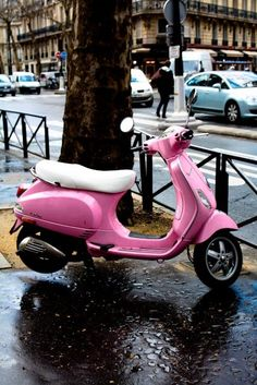 Items similar to Pink Vespa in Paris - Fine Art Photograph - pretty in pink - paris decor on Etsy Pink Moped, Pink Vespa, Motor Scooters, Vespa Scooters, Moped Scooter, Fiat 500, Sidecar, Motos Vespa, I Believe In Pink