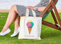 Ice Cream, Reusable Tote Bags, Etsy Shop, Trending Outfits, Unique Jewelry, Handmade Gifts, Check, Cotton, Gelato