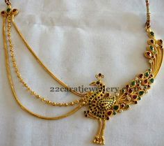 Jewellery Designs: Colorful Peacock Gold Choker