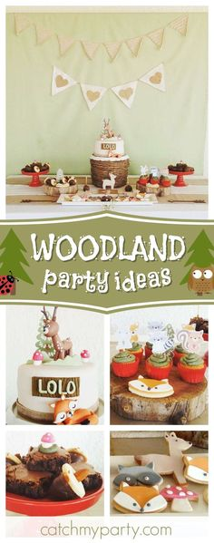 Check out this gorgeous woodland animal birthday party! The dessert table and birthday cake are stunning!! See more party ideas and share yours at CatchMyparty.com #catchmyparty #partyideas #animals #woodlandbirthdayparty