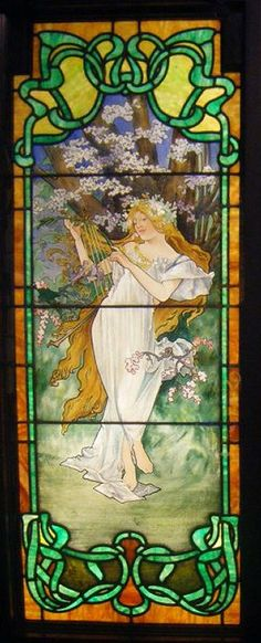 The Four Seasons: Spring, stained glass by Alphonse Mucha.