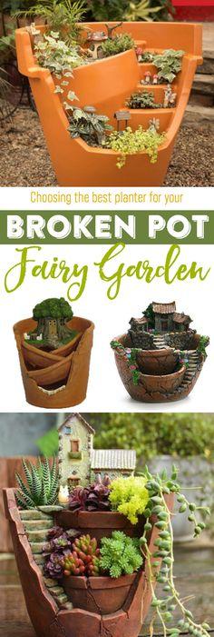 Best Fairy Garden Broken Pot Planters - Fairy Gardens   Gardening   Planters