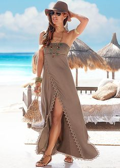 Boho meets the beach in the Venus strapless maxi.