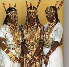 From Djibouti East Africa: Three decorated Afar women from Tajourah. Photo by: Carol Beckwith and Angela Fisher ~ African Ark: Peoples of the Horn, 1990